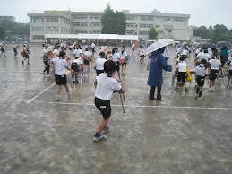 運動会で雨で中止